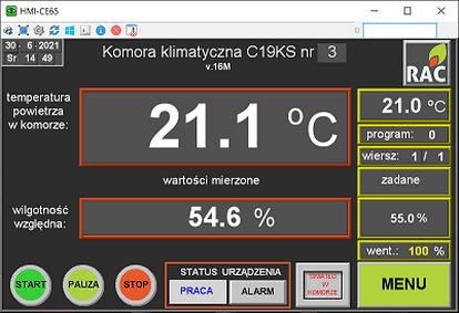 panel obsługi komor klimatycznych