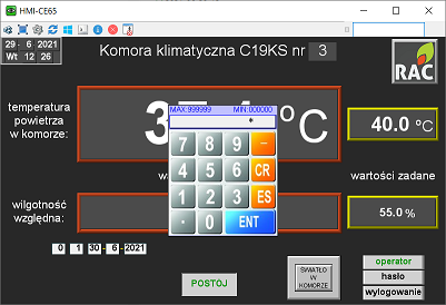 ustawienie hasła na panelu obsługi